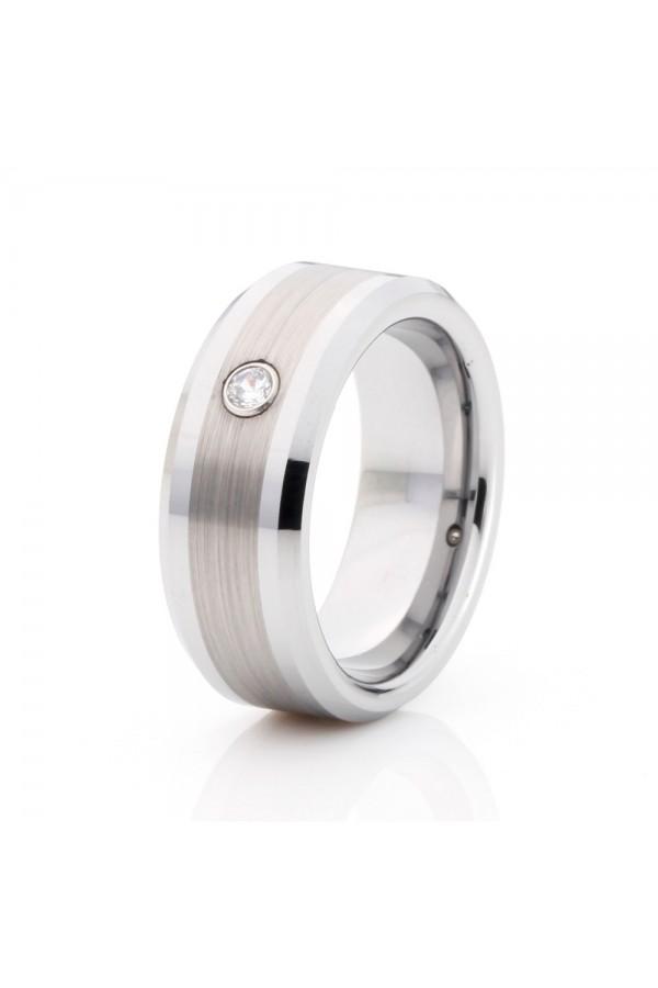Aliança De Tungstênio Prata Tiranos 8mm