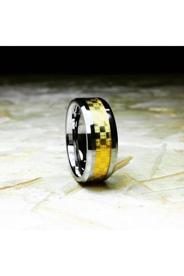 Aliança De Tungstênio Mosaico Gold 8mm