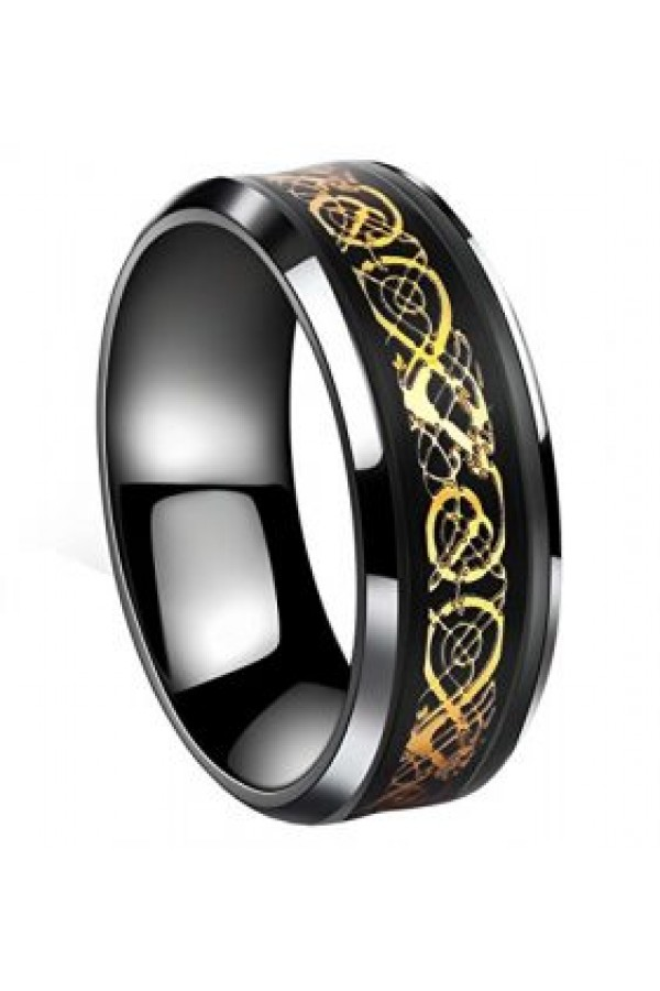 Aliança De Tungstênio Black Dragon Gold 8mm