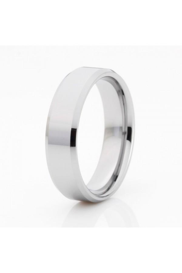 Aliança De Tungstênio Prata Caristo 6mm
