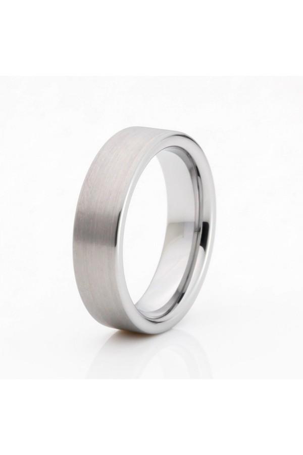 Aliança De Tungstênio Prata Ágora 6mm