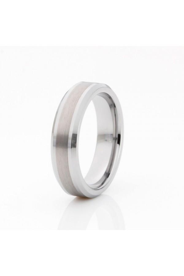 Aliança De Tungstênio Prata Tiranos 6mm