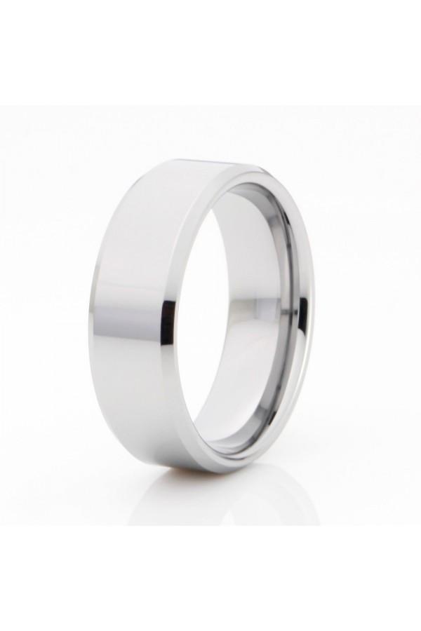 Aliança De Tungstênio Prata Caristo 8mm