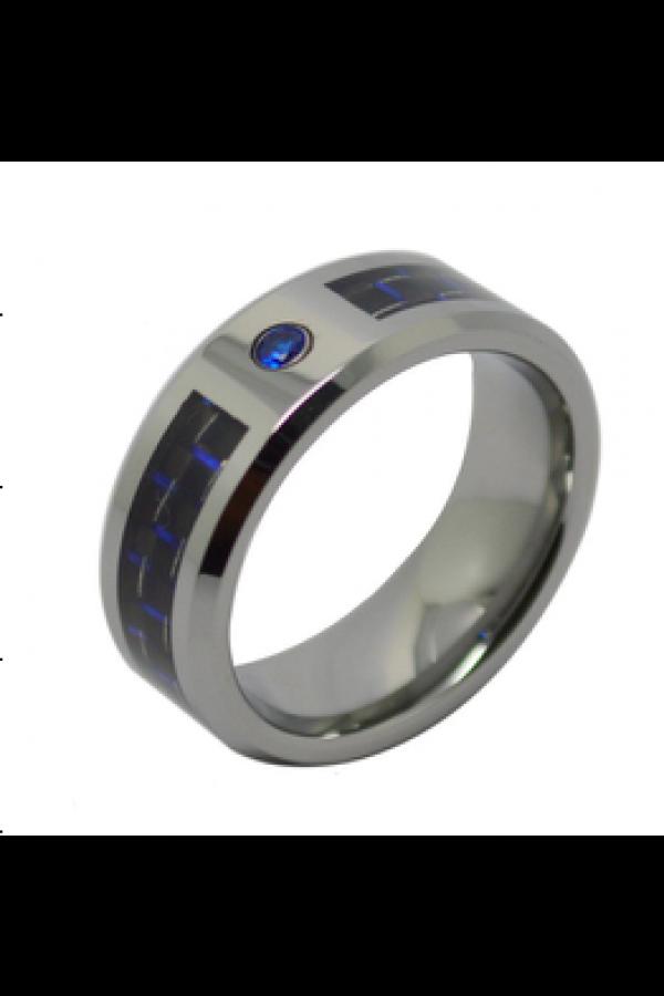 Aliança De Tungstênio Blue Carbon com Pedra 8mm