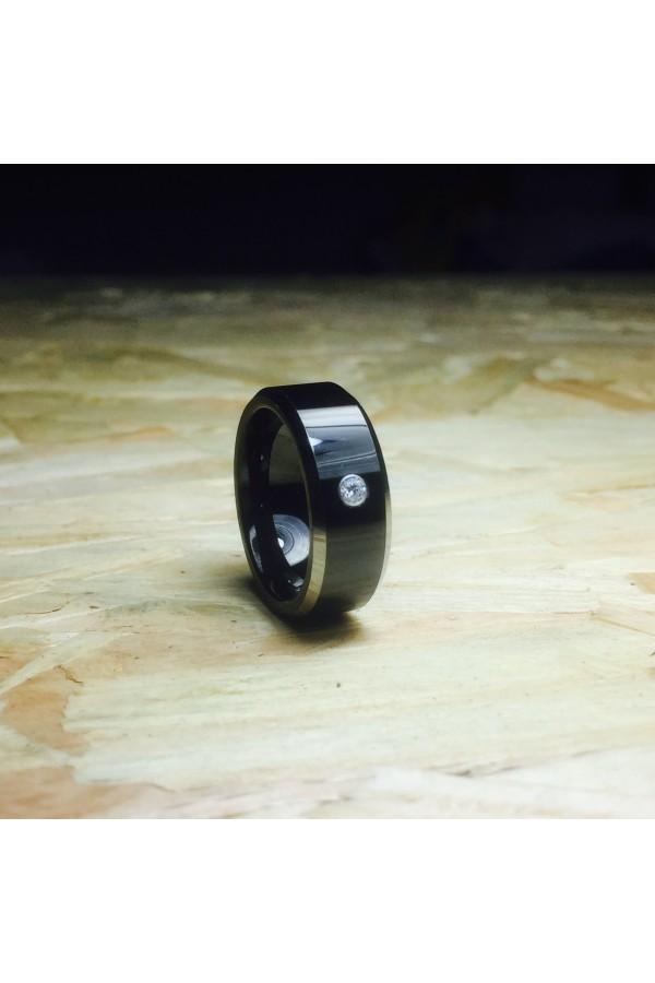 Aliança De Tungstênio Érebo com Pedra 8mm