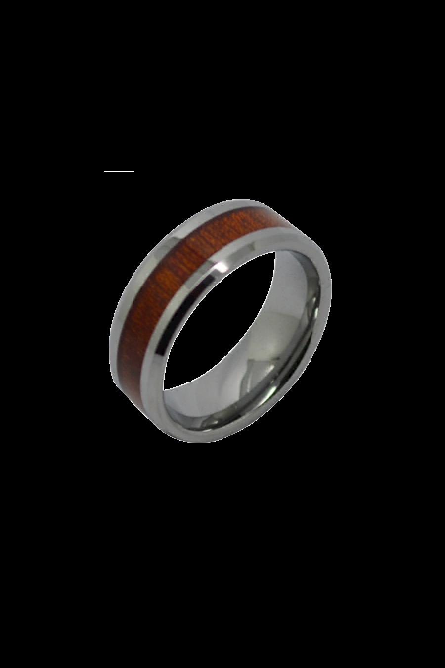 Aliança De Tungstenio com Madeira Wood Ipê 8mm