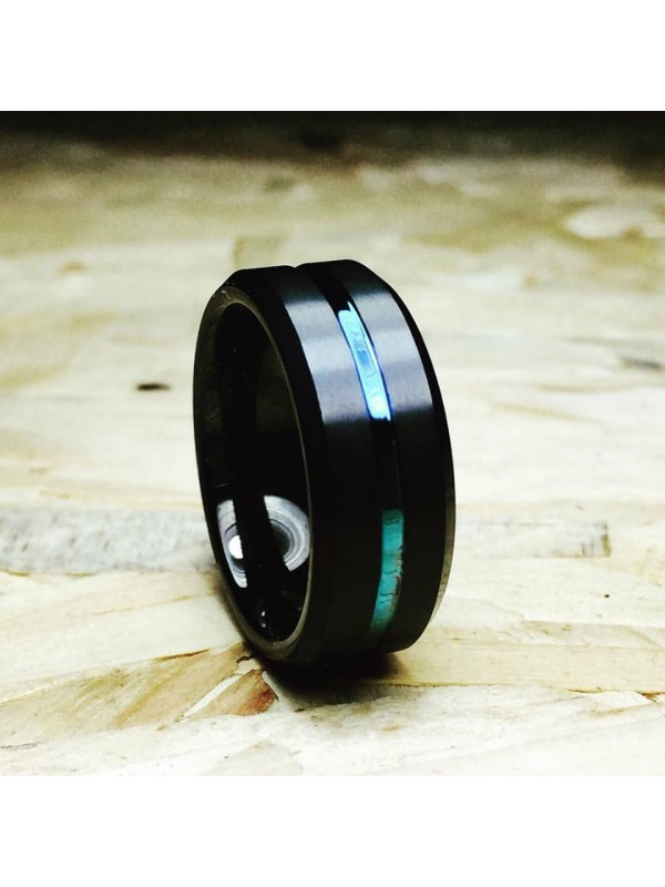 Aliança De Tungstênio Preta Hórus 8mm