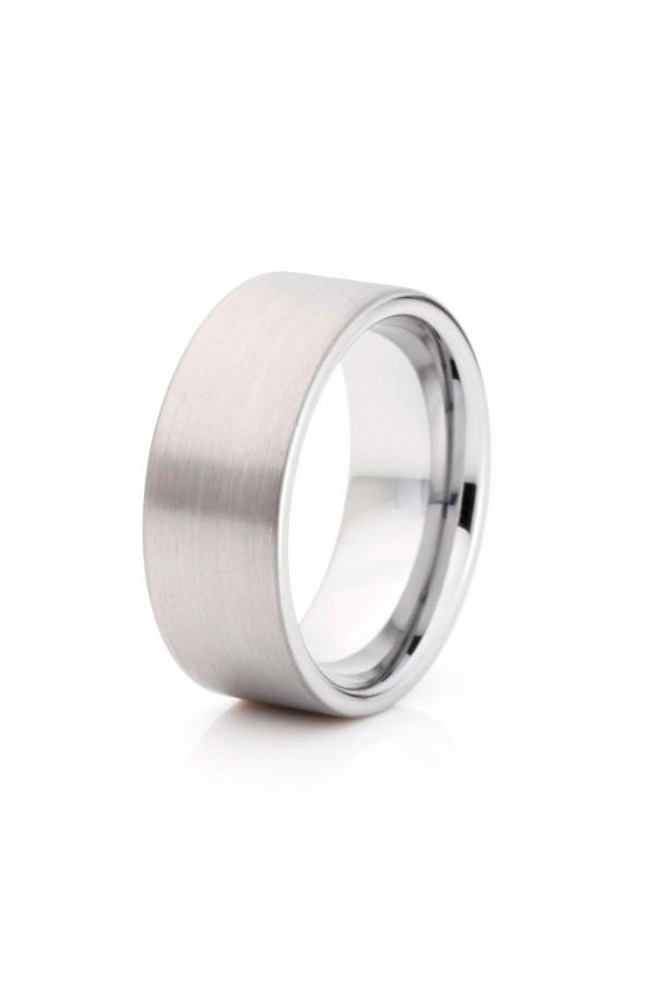 Aliança De Tungstênio Prata Ágora 8mm