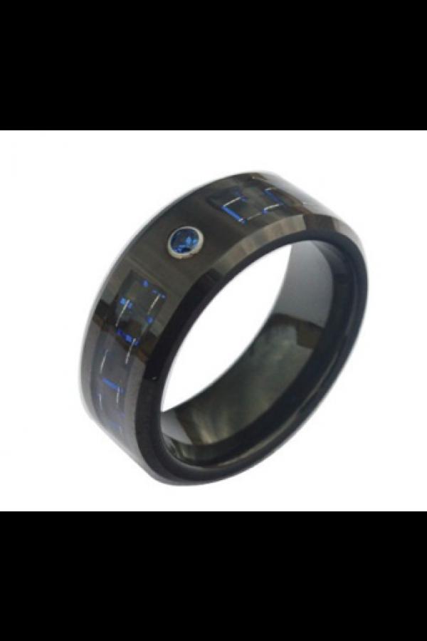 Aliança De Tungstênio Blue Carbon 2 com Pedra 8mm