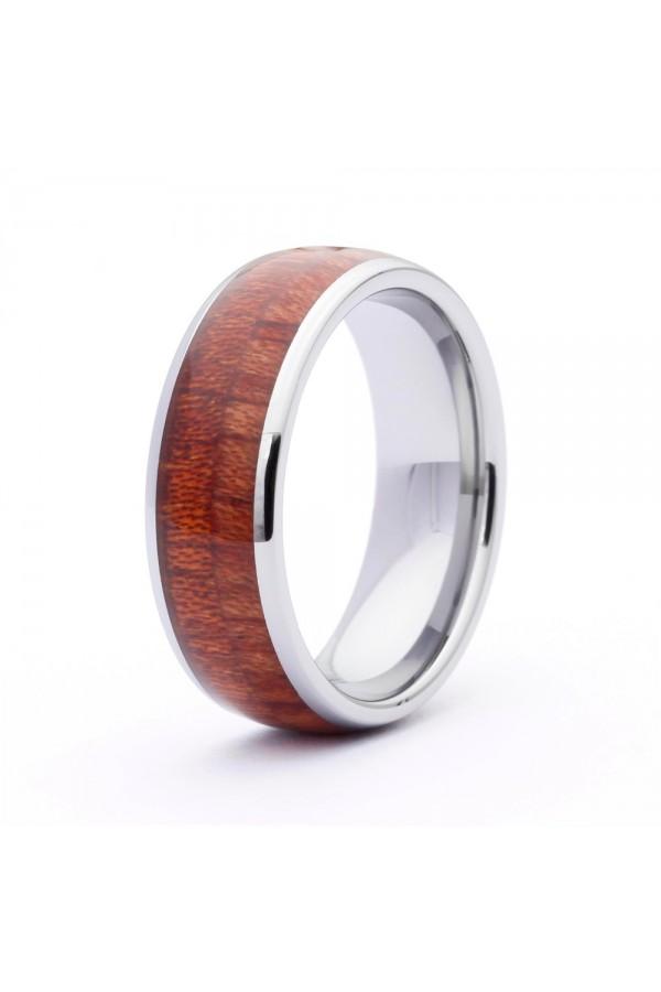 Aliança De Tungstenio com Madeira Wood Jatoba 8mm