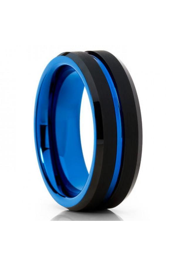 Aliança De Tungstênio Lepanto Blue 6mm