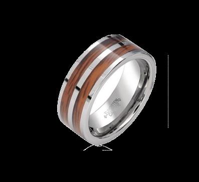 Aliança De Tungstenio com Madeira Wood Brasil 8mm
